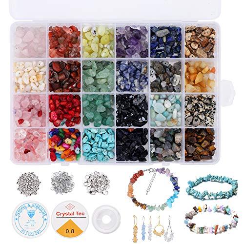 Cuentas de Piedra Lava Naturales 24 colores Kit de cuentas de piedras preciosas irregulares de, kit de cristal de piedras preciosas para hacer joyas para hacer joyas, collares, pulseras (24 colors)
