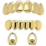 Jewel Town 14k Gold Plated Hip Hop Teeth Grillz Caps Top & Bottom Set + 2 Free Open Face Single Teeth