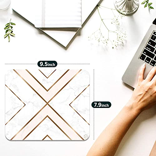 Oriday Gaming Mouse Pad Custom, Modern Gold Cross Line Design for Women Non-Slip Rubber Thick Mouse Pad for Computers Laptop (Chic White) Photo #7
