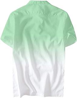 Xniral Män sommar t-shirt gradient tunna andningsbara toppar kortärmad rund hals tröja