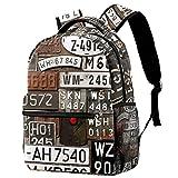 XiangHeFu Sac à dos pour adolescente garçon école Daypack Outdoor Walk Travel Bag Divers anciennes plaques d'immatriculation de voitures Sac à dos imprimé