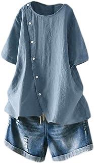 Minibee Women's Linen Blouse Tunic Short Sleeve Shirt Tops with Buttons Decoration