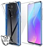 MP-MALL Coque Compatible avec Xiaomi Mi 9T/Mi 9T Pro/Redmi K20, 1× Verre trempé Protection écran, Souple Flexible Silicone Gel TPU Housse Case, Transparent Xiaomi Mi 9T Cover- Clair