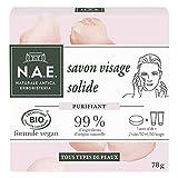 N.A.E. - Nettoyant Démaquillant Visage Solide - Enrichi en Eau de Rose de Damas - Certifié Bio - Formule Vegan - 99 % d'ingrédients d'origine naturelle - Savon de 78 g