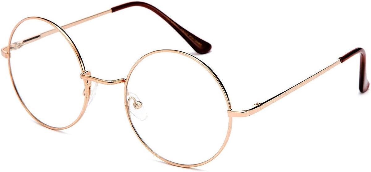Retro John Lennon Sonnenbrille Klassisch Rund Vintage Hippie Brille Feder Tempel