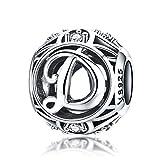 925sterling Silver lettera dell' alfabeto D charm iniziale cristallo zirconi, con ciondoli e perline per braccialetti collane