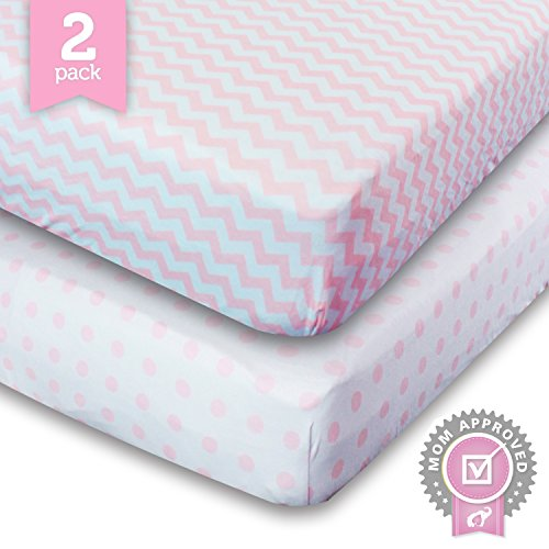Buy Discount Ziggy Baby Crib Sheets, Toddler Bedding Fitted Jersey Cotton (2 Pack) Pink Polka Dot, C...