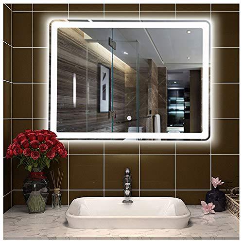 YJ Espejo con Luz Rectangular, Espejo Maquillaje Led, Resistente Al Agua, Instalación Horizontal en La Pared, 60x80cm, 70x90cm, 75x100cm
