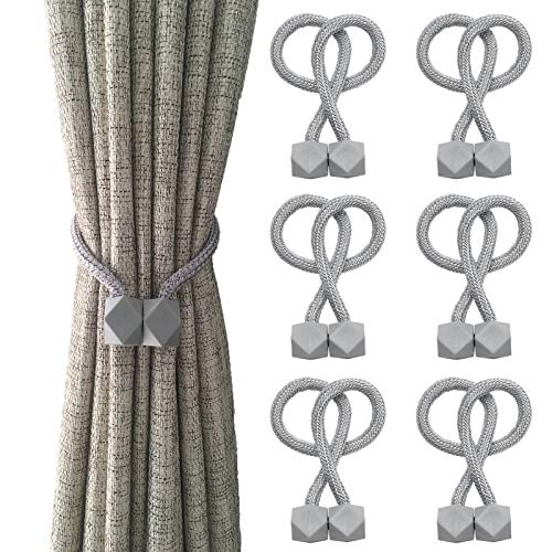 KAIBERYL 6-Pieces Magnetic Curtain tiebacks, Decorative Magnetic Curtain Straps, no Tools Required, Classical Style Curtain Clips(Gray)