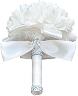 Colorful Foam Roses Artificial Flower Wedding Bride Bouquet Party (White+White)