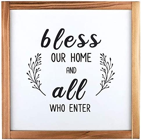 whoaon Farmhouse Wall Decor Sign Bless Our Home and All Who Enter Rustic Wood Frame Home Sign product image