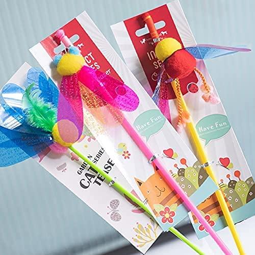 猫おもちゃ 釣り竿 猫じゃらし 一緒に遊び 天然素材 Amy&carol台湾人気 羽のおもちゃ 運動不足解消 つり竿 蜂/コオロギ/てんとう虫 3本 (3本セット)