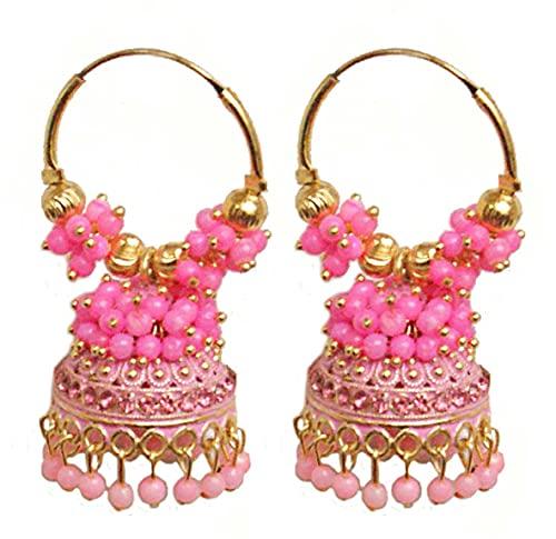 Pahal Ethnic Bollywood Jaipur Rosa Cluster Pearl Pintado Indio Big Gold Jhumka Pendientes de aro Jhumki Joyería nupcial para mujer
