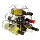 Maison & White Casier à vin en or rose | Étagère à vin sur pied avec 6 bouteilles | Design moderne à six pans | Cave à vin