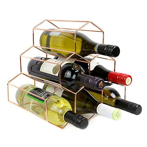Rose Gold Weinregal | 6 Flasche freistehendes Weinregal | Sechseck modernes Design | Weinregal | M&W
