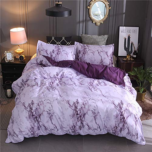 Lanqinglv Bettwäsche 20x200cm mit Reißverschluss Violett & Weiß Marmor Muster Wendebettwäsche 3 teilig Mikrofaser Bettbezug mit 2 Kissenbezug 80x80cm