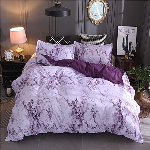 Lanqinglv Bettwäsche 200x200cm Reißverschluss Violett & Weiß Marmor Muster Bettwäsche 3-teilig Mikrofaser Bettbezug mit 2 Kissenbezug (Lila,200x200)