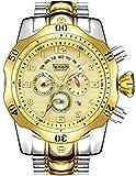Relojes de cuarzo para hombre, calendario luminoso, correa de acero, reloj de cuarzo, resistente al agua, cronógrafo, reloj de negocio, color dorado 2
