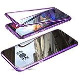 Jonwelsy Funda para Samsung Galaxy S8, Adsorción Magnética Parachoques de Metal con 360 Grados Protección Case Cover Transparente Ambos Lados Vidrio Templado Cubierta para Samsung S8