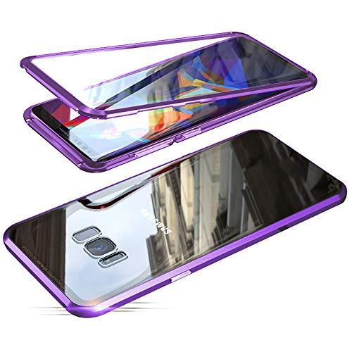 Jonwelsy Funda para Samsung Galaxy S8 Plus, Adsorción Magnética Parachoques de Metal con 360 Grados Protección Case Cover Transparente Ambos Lados Vidrio Templado Cubierta para Samsung S8+ (Morado)