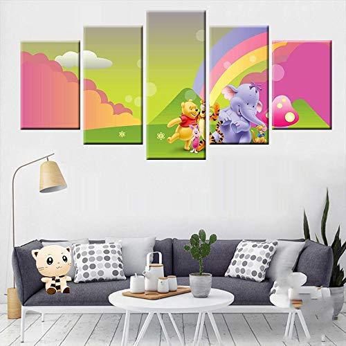 TXCY 5 Leinwandbilder 5 Panel Winnie The Pooh Cartoon Poster Leinwand Malerei HD-Druck Wandkunst Wohnzimmer Kinderzimmer Wohnkultur Drucke auf Leinwand