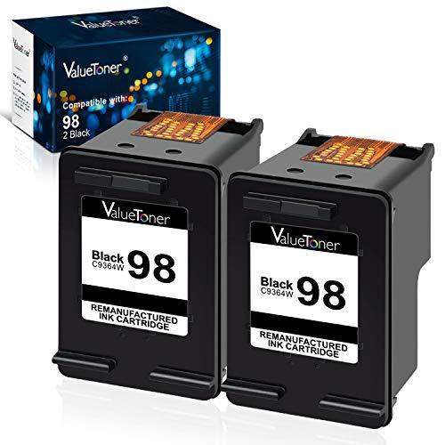 Valuetoner Remanufactured Ink Cartridge Replacement for HP 98 (C9364WN) for Officejet 150 100 6310 H470, PhotoSmart 2570 2575 8050 C4180 C4150, Deskjet 460 5940 D4145 D4155 Printer (Black, 2 Pack)