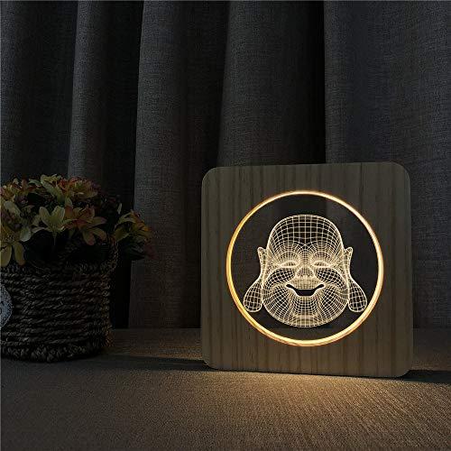 Holz Buddha Maitreya acryl nachtlicht tischlampe Schalter Steuerung Gravur Lampe raumdekoration...