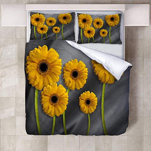 JNBGYAPS 3D Effect Printed duvet cover Five sunflowers Bedding set with Pillocases (with Zipper Closure) Soft Microfiber Quilt Cover Single200X200cm