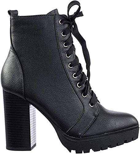 Soda Women's High Stacked Heel Bootie B/Black 7.5 M US