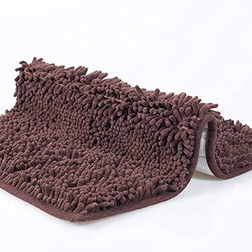 YIQI Alfombra de baño de Felpa de Microfibra de Chenilla, Suave y acogedora, Agua súper Absorbente, Antideslizante, Gruesa para Dormitorio de baño (60x40 cm, marrón) ✅