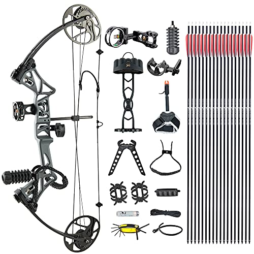"""Compound Bow TOPOINTARCHERY Package,M1,19""""-30"""" Draw Length,19-70Lbs Draw Weight,320fps IBO Limbs Made in USA (Smoke)"""