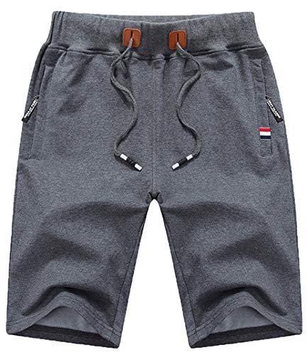 QPNGRP Mens Shorts Casual Drawstring Zipper Pockets Elastic Waist Darkgray 34
