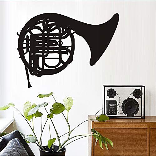 Tianpengyuanshuai Cartoon Musik wandaufkleber Aufmerksamkeit Posaune Instrument wandaufkleber Schlafzimmer abnehmbare Vinyl Musik wandtattoos Musik zimmer106x77cm