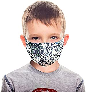 Reusable Kids Face Cloth Mask - 3 Layers Breathable Fabric Mask with Built in Polypropylene Non-woven Filter - 2 Pack