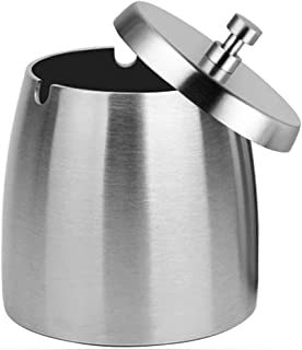 OILP Outdoor Ashtray with Lid for Cigarettes,Stainless Steel Windproof/Rainproof Ashtray for Outside Home Table, Silver, ...