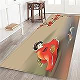 CONICIXI Felpudos Entrada Casa,Koi Fish Geisha alimentando a la...