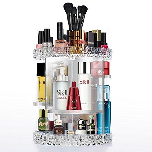 Organizador De Maquillaje Acrílico 360 Giratorio Organizador Cosmético 8 Cuadrícula Combinable Makeup Organizer Lápiz Labial, Pincel, Crema Facial, Productos para El Cuidado De La Piel.