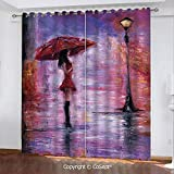 Blackout Curtains,Oil Painting Style View Young Woman with Umbrella on Street Rainy Night,for Bedroom (2 Panels,51.96x84.64 Inch),Lavender Red and Coral