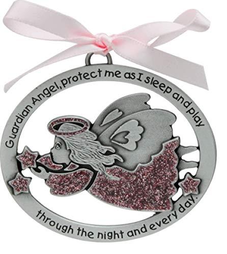 Guardian Angel Baby Crib Medal  Christening  Baptism Shower Gift  Infant GirlPink