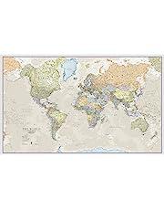 Ogromna klasyczna mapa świata plakat polityczny - laminowany/zamknięty 197 cm (szer.) x 116,5 cm (wys.)