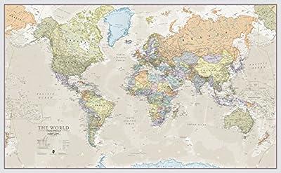 MAPAMUNDI GIGANTE: el póster, con unas dimensiones de 197 cm x 116,5 cm y una escala 1:20 m, es ideal para colgar como mapamundi en clases, oficinas o en amplias salas de estar. MAPA MUNDI PARED GRANDE - DECORACIÓN CLÁSICA: este mapa político del mun...