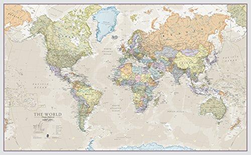 Maps International - Mappa del mondo di grandi dimensioni – Poster con mappa del mondo stile classico - Laminato - 197 cm (larghezza) x 116,5 cm (altezza)