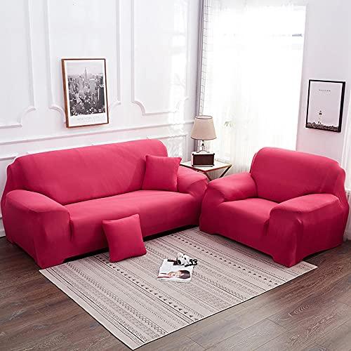 Coperchio di divano elasticizzato, copertura da 1 pezzo per 1 2 3 4 cuscino divano sofà Protector di mobili, lavabile Loveseat Slipcover per soggiorno-Rosa_3 posti (190-230 cm / 75