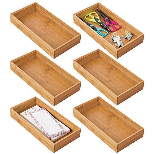 mDesign Juego de 6 cajas organizadoras para escritorios y cajones – Caja rectangular de bambú – Organizador de madera...
