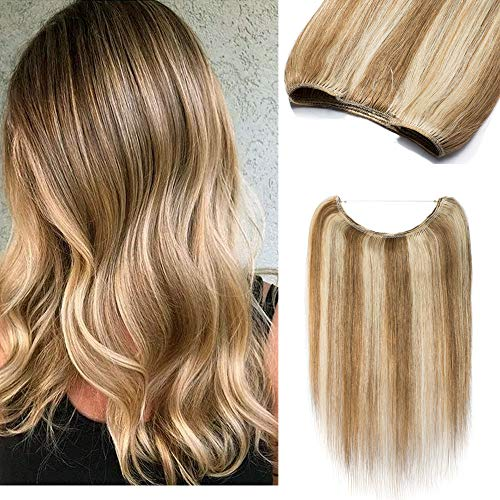 16'' 100% Remy Human Hair Extensions One Piece Hidden Crown Long Straight Invisible Wire Hair Secret Miracle Wire With Transparent Fish Line Headband For Women #12P613 Golden Brown&Bleach Blonde 60g