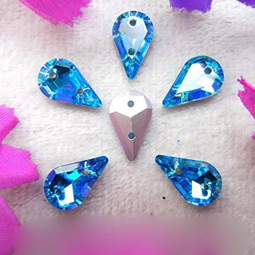 Cristal de dos agujeros de 8 x 13 mm, 50 piezas/bolsa de bonitos colores, mezcla delgada, forma de pera de gota de agua, para coser en diamantes de imitación, zapatos de ropa de bricolaje