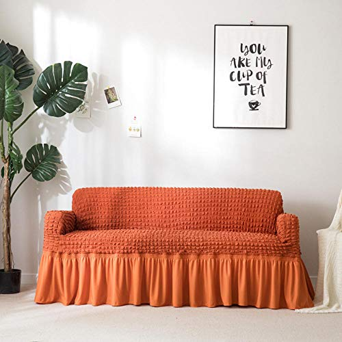 Allenger Funda de Sofá Poliéster,Funda de sofá Gruesa de Color sólido, Funda de sofá de Falda Completa, Funda de cojín Antideslizante de Alta Elasticidad-Orange_120-170cm