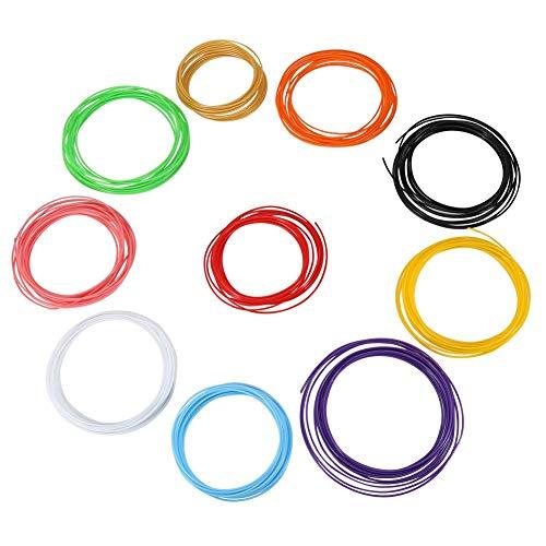HEEPDD 3D Printer Pen Filament, 10 Colori Penna ABS/PLA ricariche di filamenti Materiale di consumo in plastica per Bambini Adulti Arti Artigianato Modello Fai da Te(PLA)