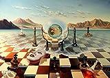 Salvador Dali = Tablero de ajedrez surrealista, pintura sobre lienzo en el mar, pintura en la pared, cuadro de póster extraño abstracto, lienzo decorativo sin marco para el hogar Z64 30x40cm
