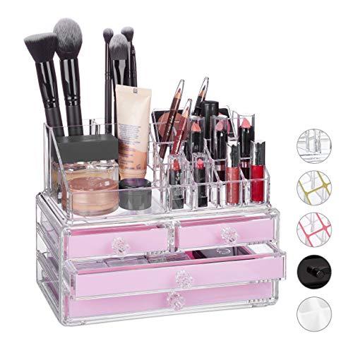 Relaxdays Make Up Organizer klein, 2-teilige Schmink Aufbewahrung Acryl, mit Lippenstifthalter und 4 Schubladen, pink